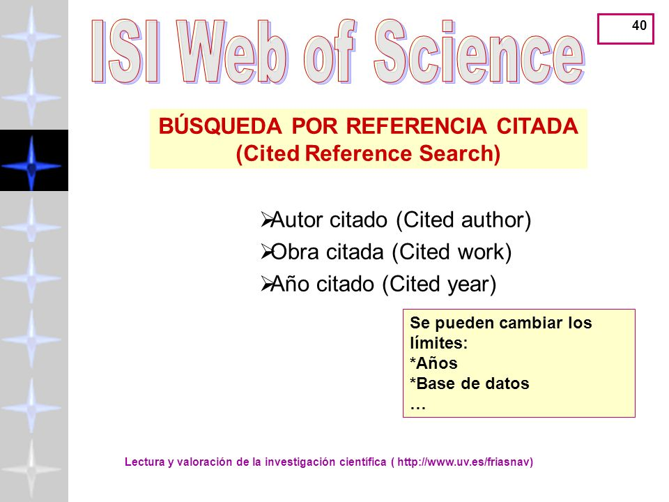 BÚSQUEDA POR REFERENCIA CITADA (Cited Reference Search)