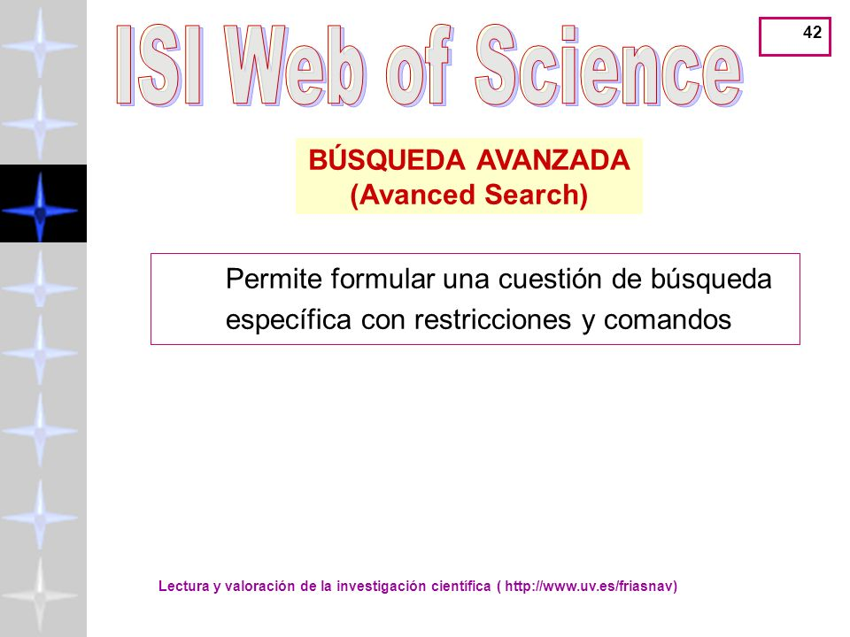 ISI Web of Science BÚSQUEDA AVANZADA (Avanced Search)