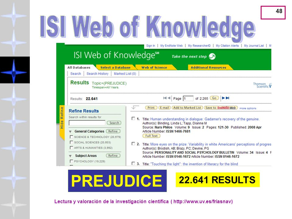 PREJUDICE ISI Web of Knowledge 22.641 RESULTS