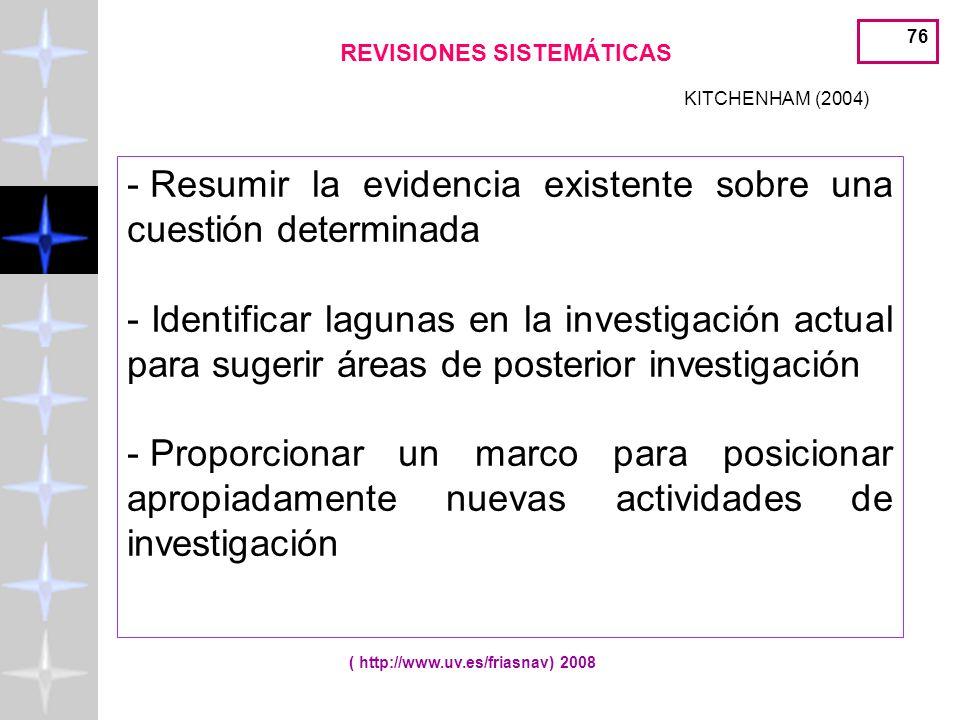 REVISIONES SISTEMÁTICAS ( http://www.uv.es/friasnav) 2008
