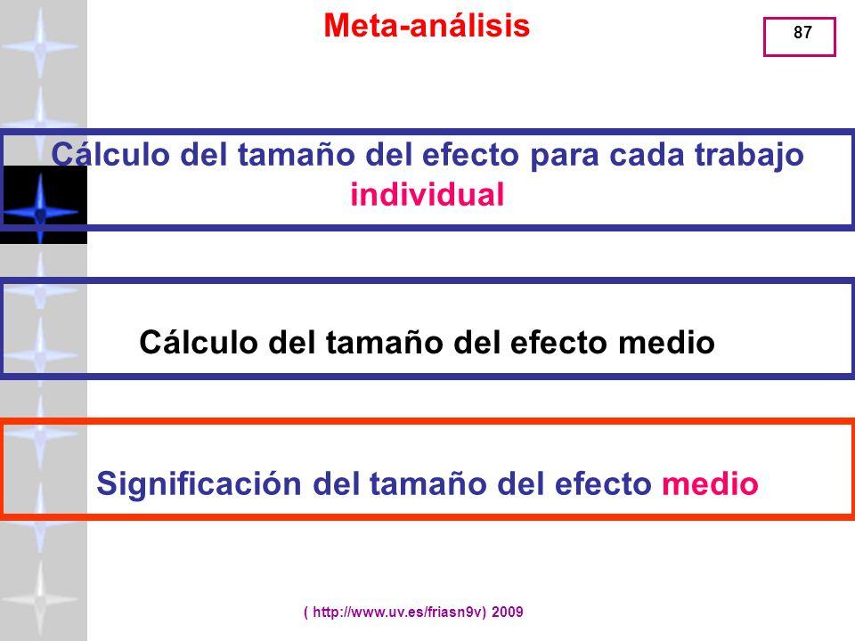 Meta-análisis Cálculo del tamaño del efecto para cada trabajo individual. Cálculo del tamaño del efecto medio.