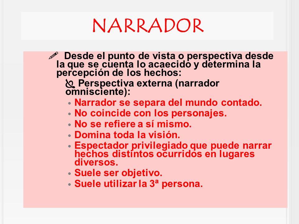 NARRADOR  Desde el punto de vista o perspectiva desde la que se cuenta lo acaecido y determina la percepción de los hechos: