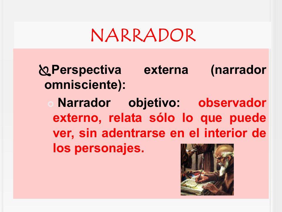 NARRADOR Perspectiva externa (narrador omnisciente):