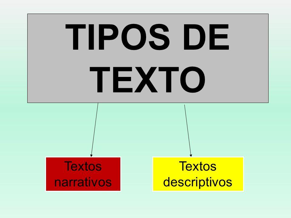 TIPOS DE TEXTO Textos narrativos Textos descriptivos