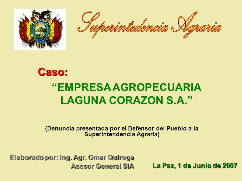 EMPRESA AGROPECUARIA LAGUNA CORAZON S.A.