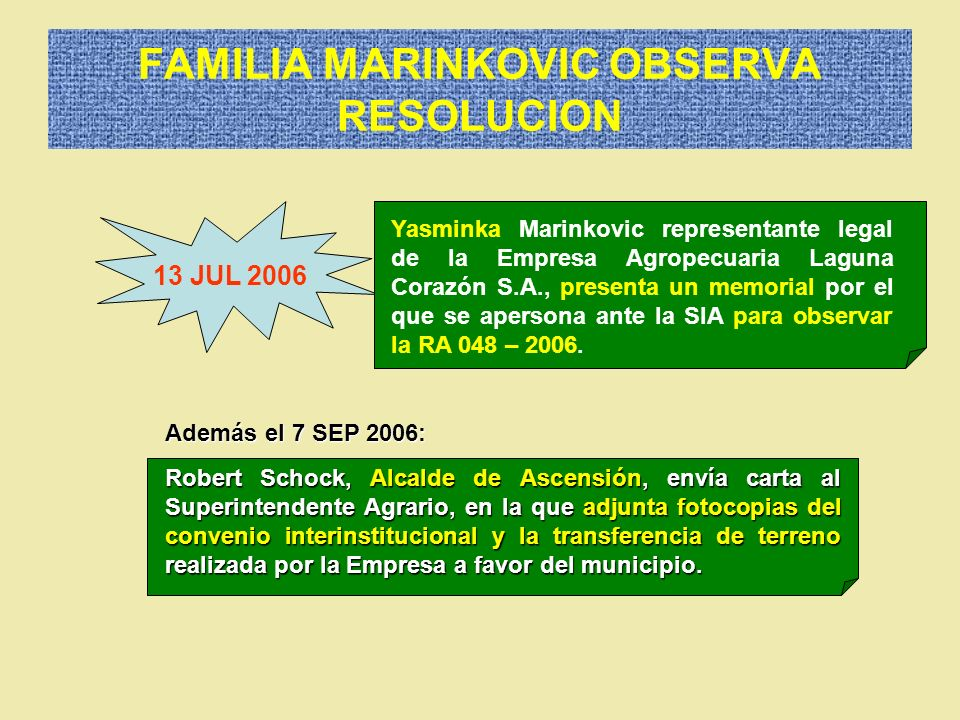FAMILIA MARINKOVIC OBSERVA RESOLUCION