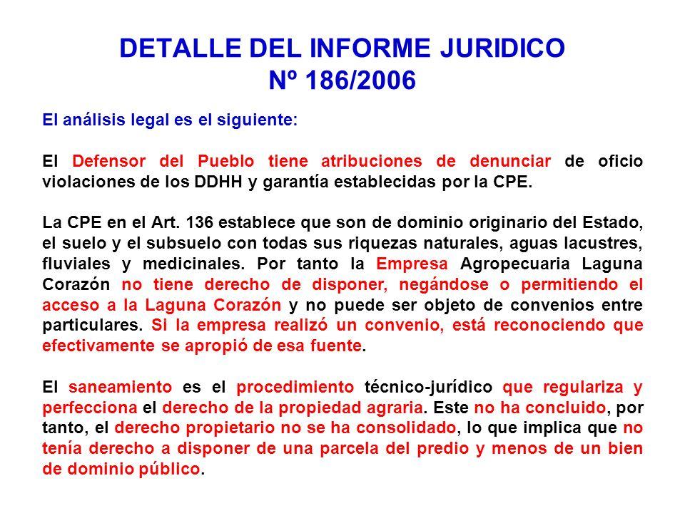 DETALLE DEL INFORME JURIDICO Nº 186/2006