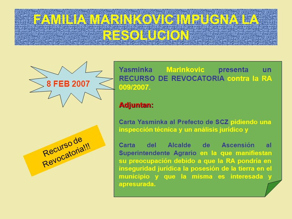 FAMILIA MARINKOVIC IMPUGNA LA RESOLUCION