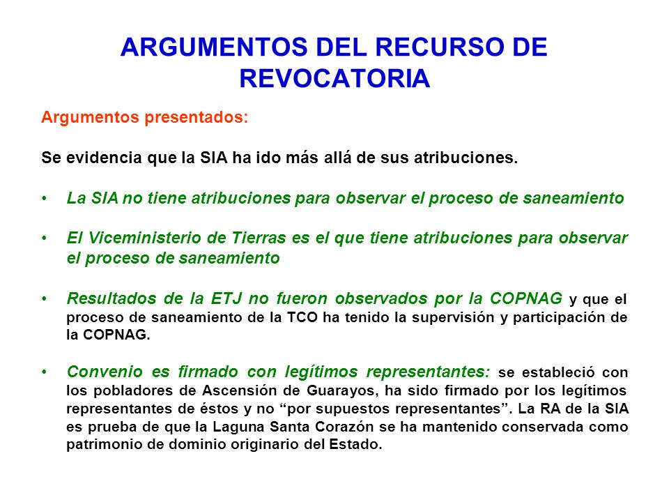 ARGUMENTOS DEL RECURSO DE REVOCATORIA