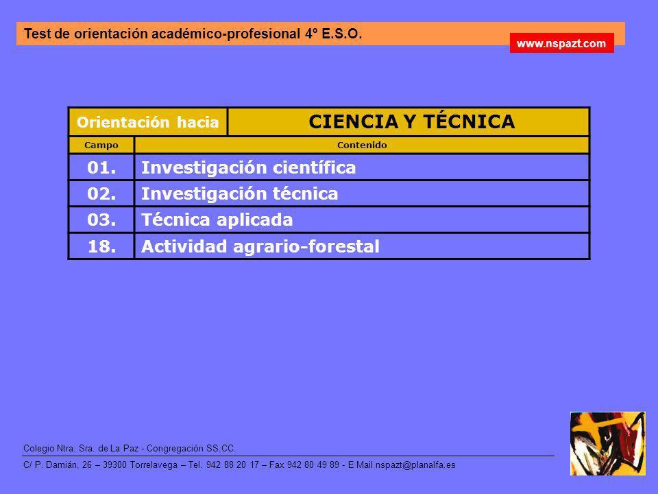 CIENCIA Y TÉCNICA 01. Investigación científica 02.