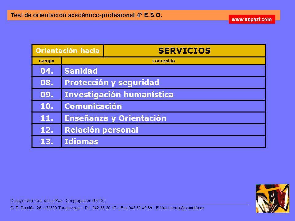 SERVICIOS 04. Sanidad 08. Protección y seguridad 09.