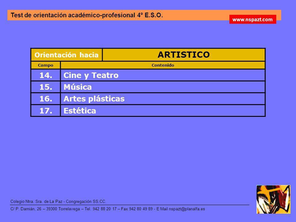 ARTISTICO 14. Cine y Teatro 15. Música 16. Artes plásticas 17.