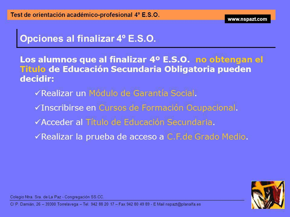 Opciones al finalizar 4º E.S.O.