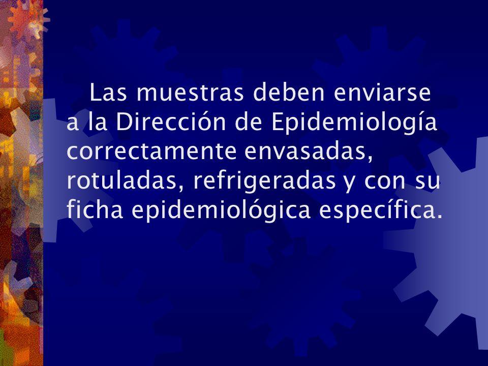 Las muestras deben enviarse a la Dirección de Epidemiología correctamente envasadas, rotuladas, refrigeradas y con su ficha epidemiológica específica.