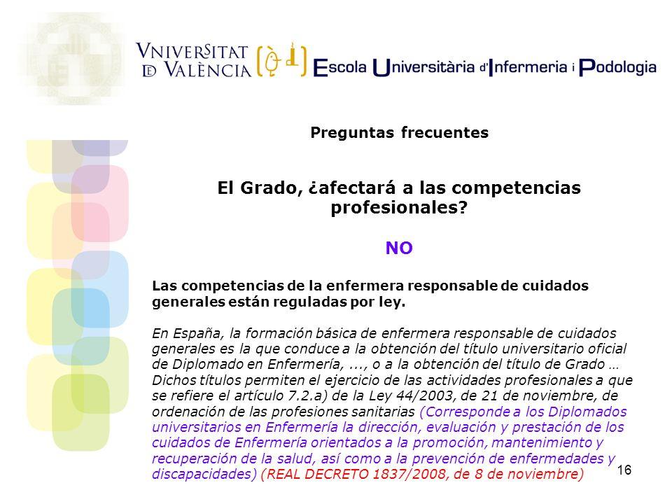 El Grado, ¿afectará a las competencias profesionales