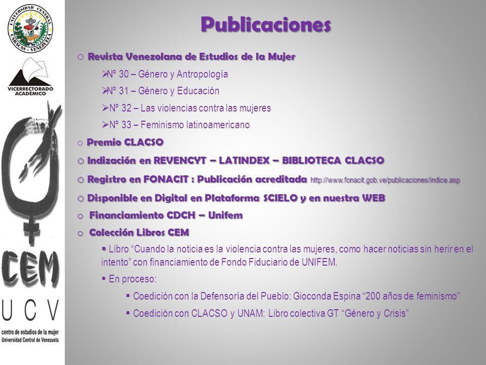 Publicaciones Revista Venezolana de Estudios de la Mujer