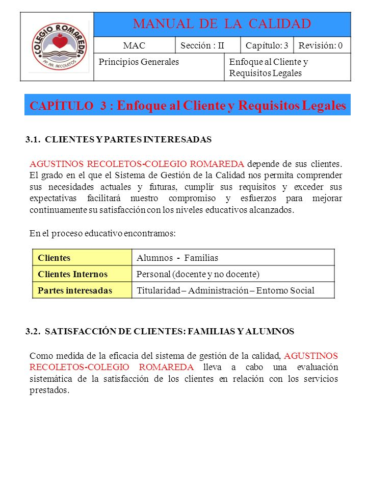 CAPÍTULO 3 : Enfoque al Cliente y Requisitos Legales