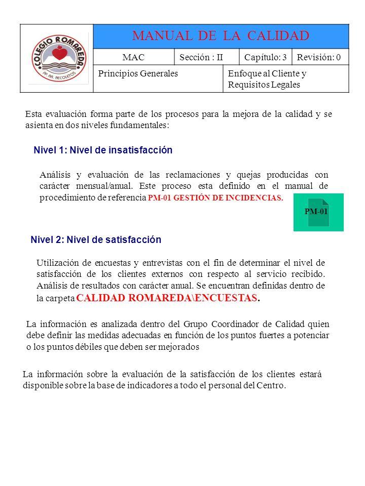 MANUAL DE LA CALIDAD MAC Sección : II Capítulo: 3 Revisión: 0