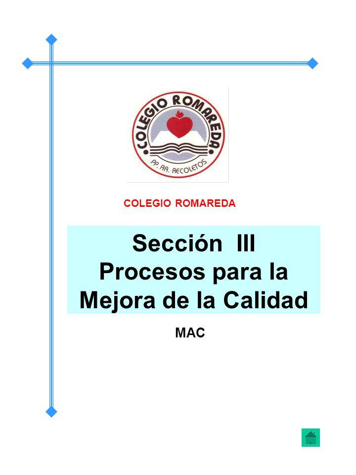 Sección III Procesos para la Mejora de la Calidad