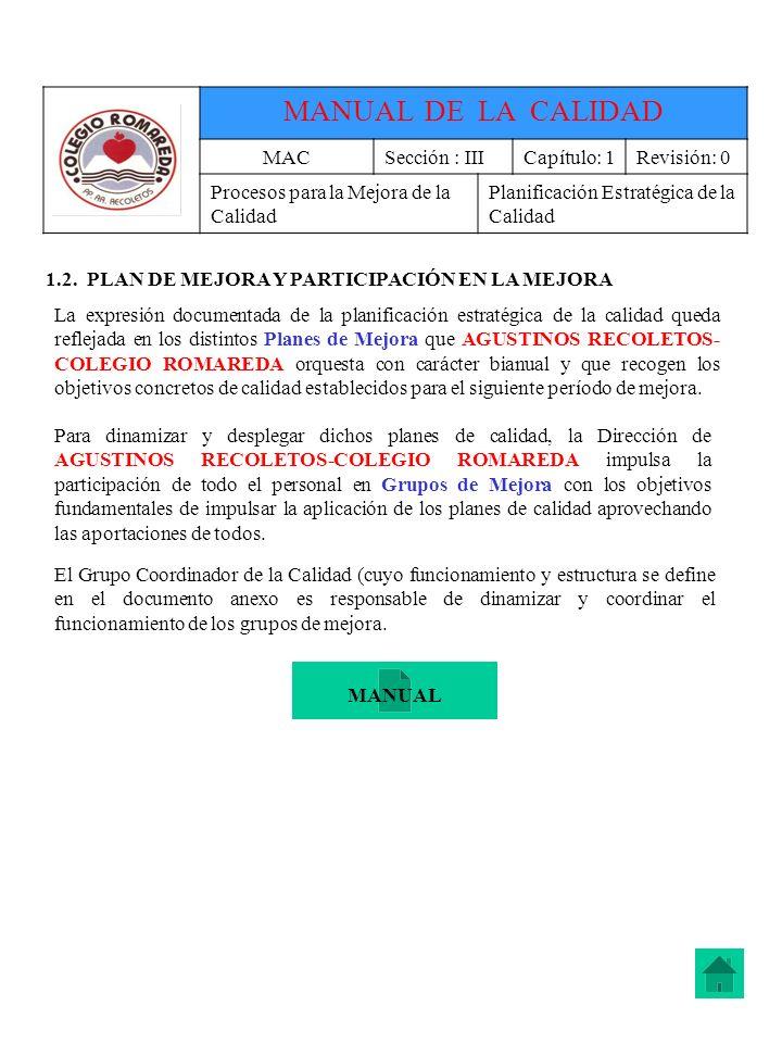 MANUAL DE LA CALIDAD MAC Sección : III Capítulo: 1 Revisión: 0