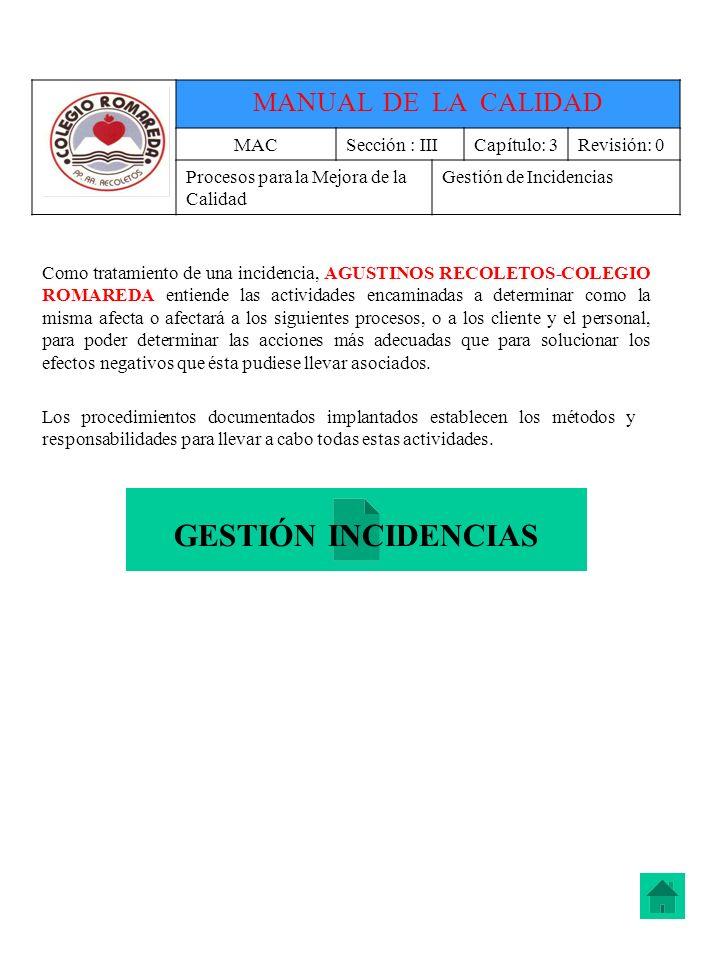 GESTIÓN INCIDENCIAS MANUAL DE LA CALIDAD MAC Sección : III Capítulo: 3