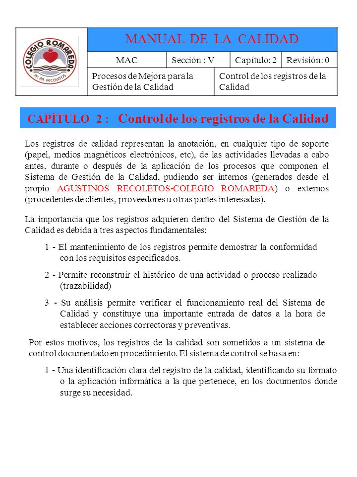 CAPÍTULO 2 : Control de los registros de la Calidad