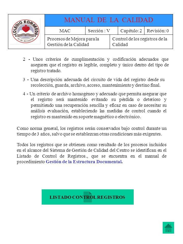 LISTADO CONTROL REGISTROS