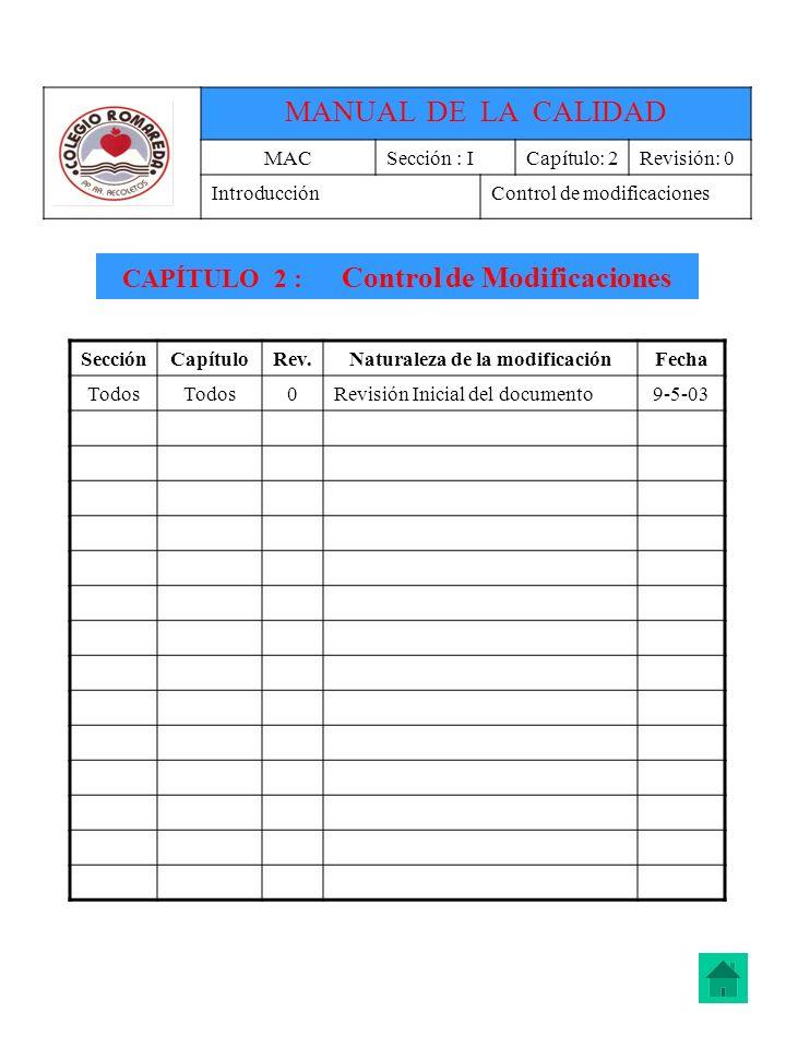 CAPÍTULO 2 : Control de Modificaciones Naturaleza de la modificación