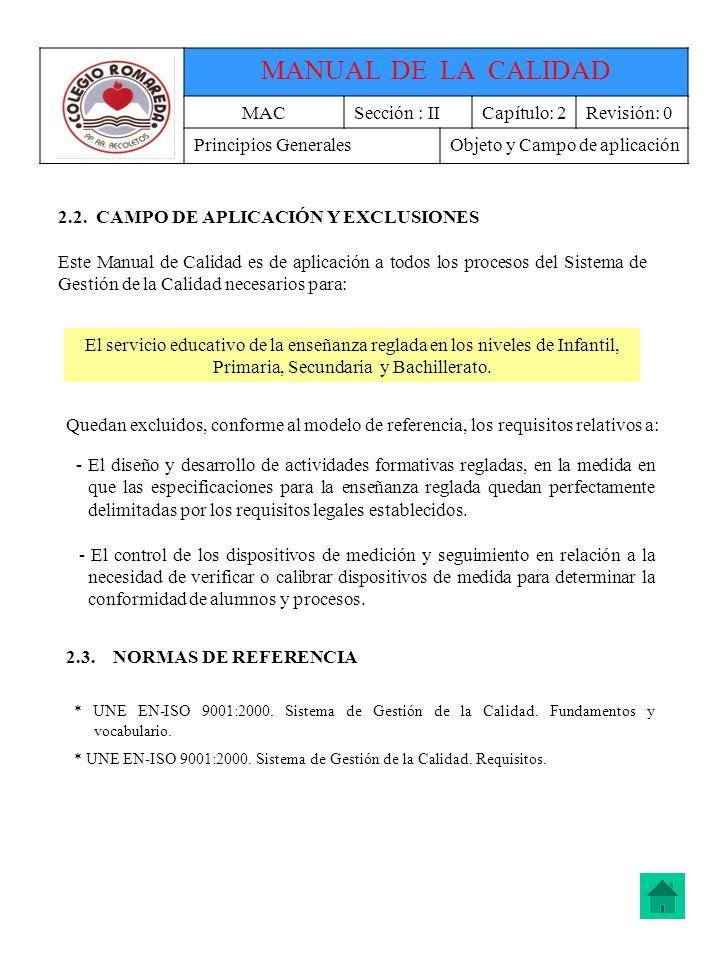MANUAL DE LA CALIDAD MAC Sección : II Capítulo: 2 Revisión: 0