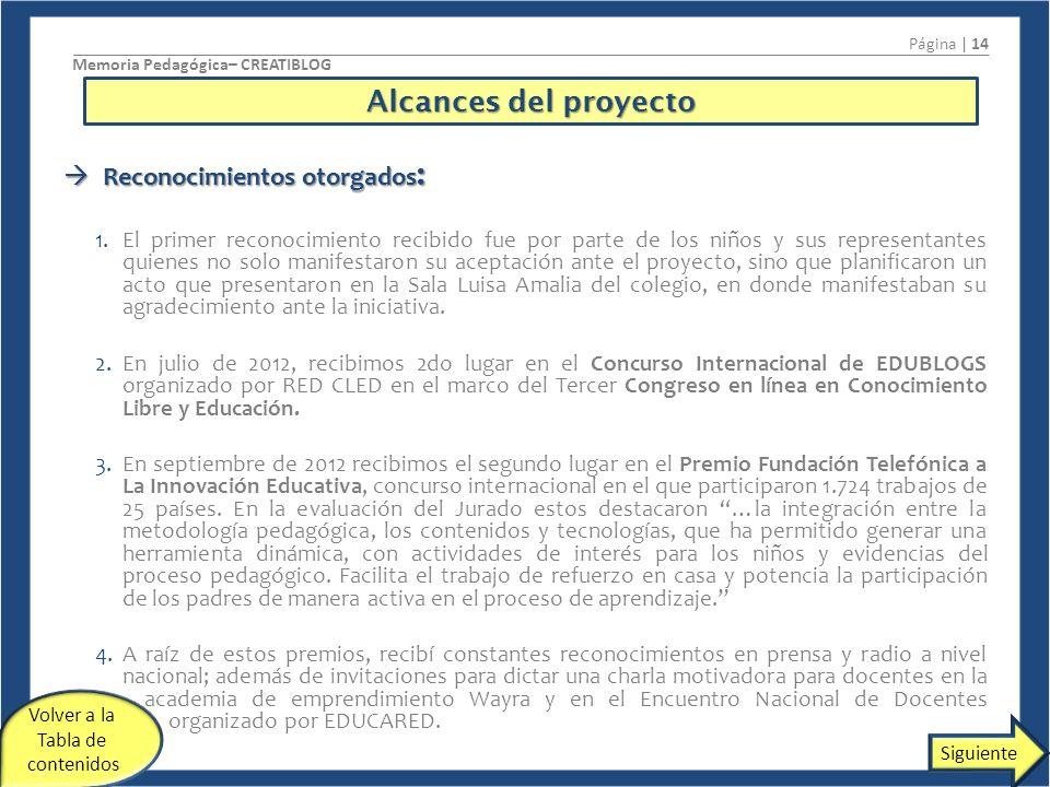 Alcances del proyecto Reconocimientos otorgados: