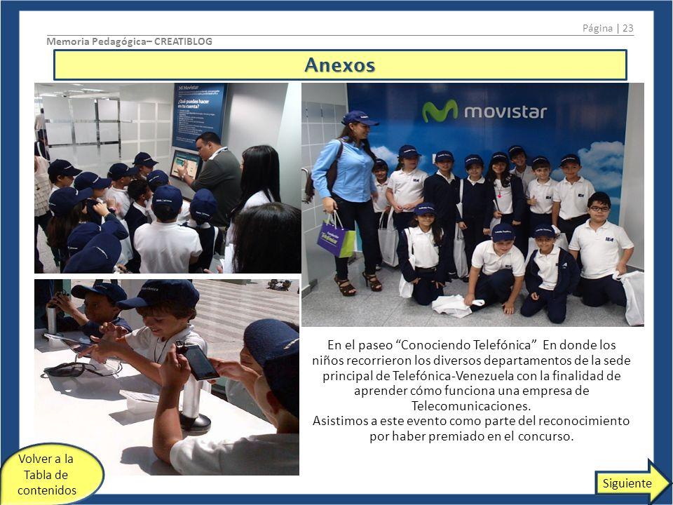Página | 23 Memoria Pedagógica– CREATIBLOG. Anexos.