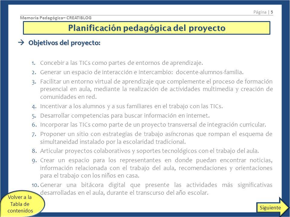 Planificación pedagógica del proyecto