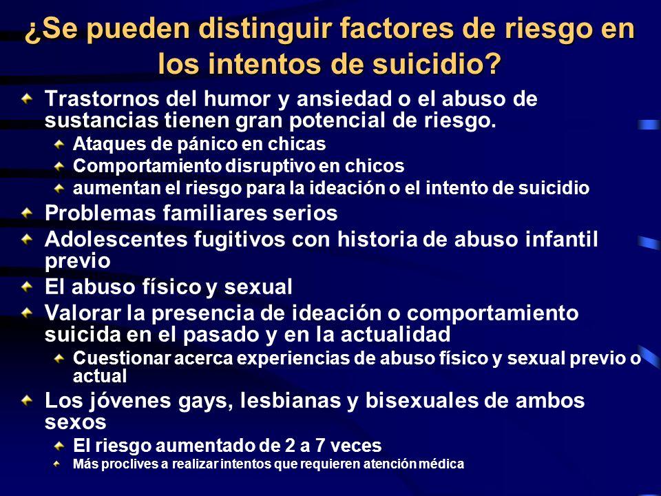 ¿Se pueden distinguir factores de riesgo en los intentos de suicidio