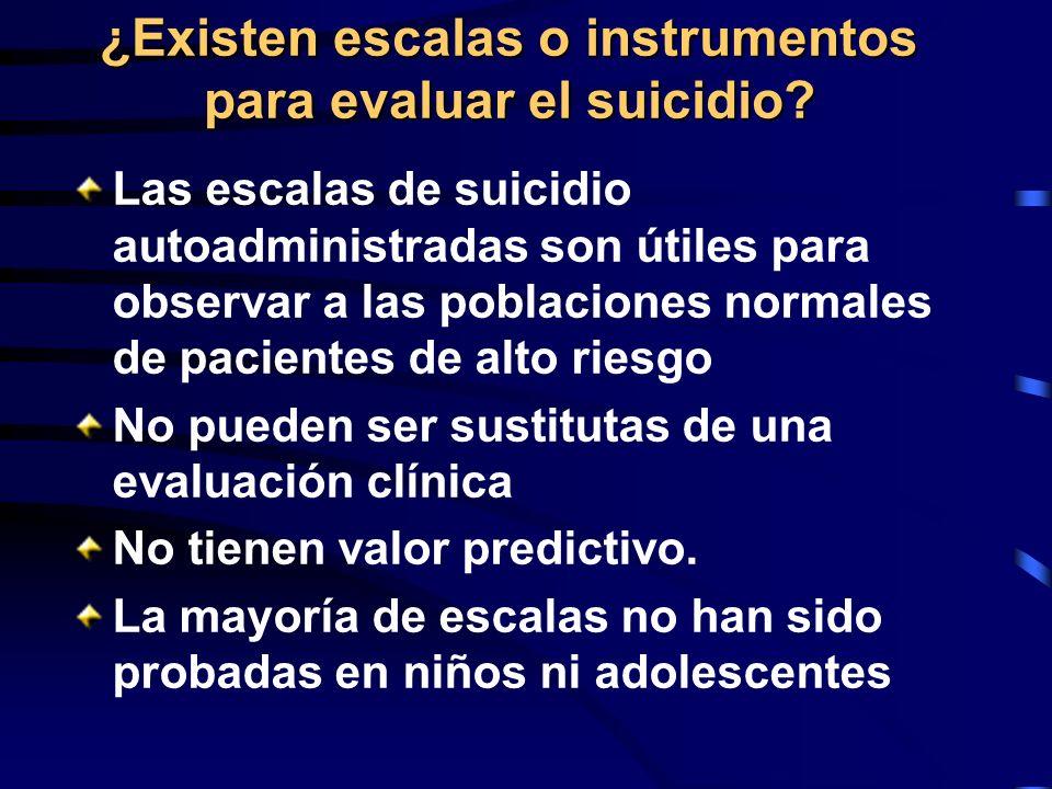 ¿Existen escalas o instrumentos para evaluar el suicidio