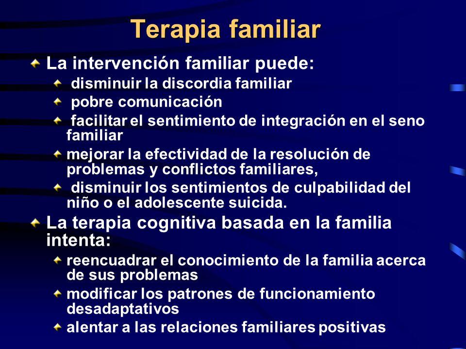 Terapia familiar La intervención familiar puede: