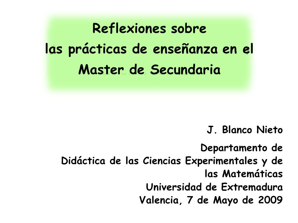 las prácticas de enseñanza en el Master de Secundaria
