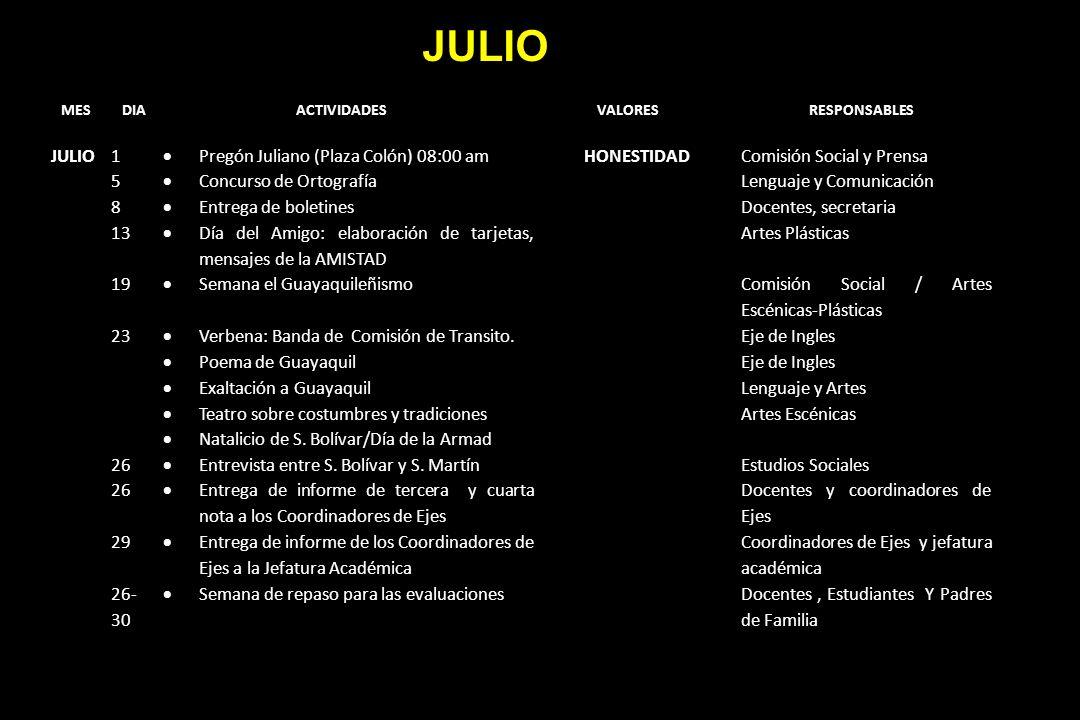 JULIO JULIO 1 Pregón Juliano (Plaza Colón) 08:00 am HONESTIDAD