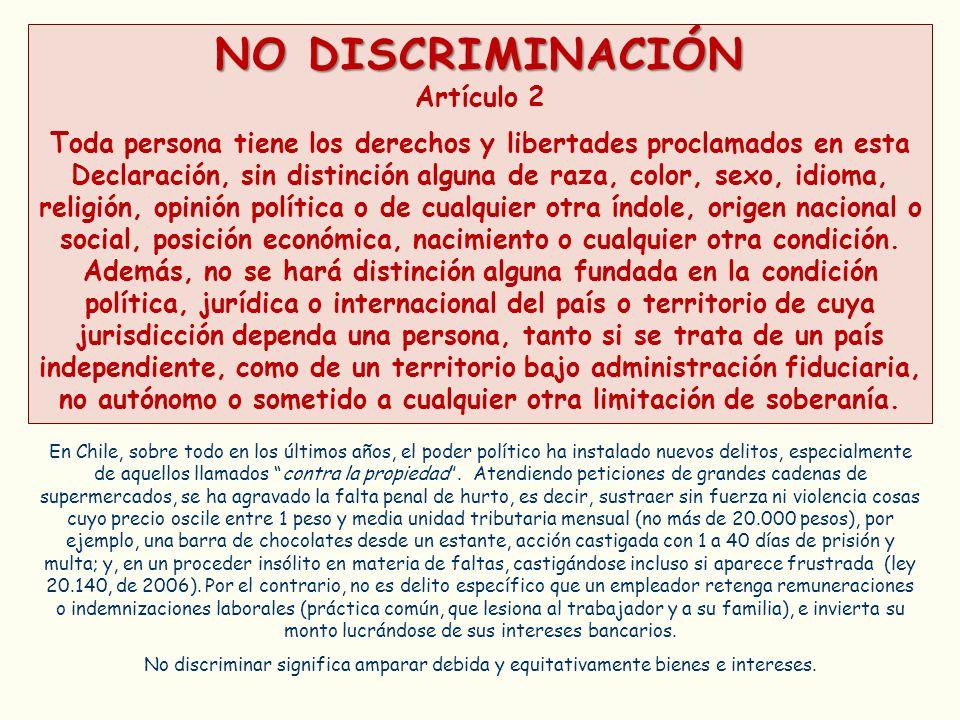 NO DISCRIMINACIÓN Artículo 2