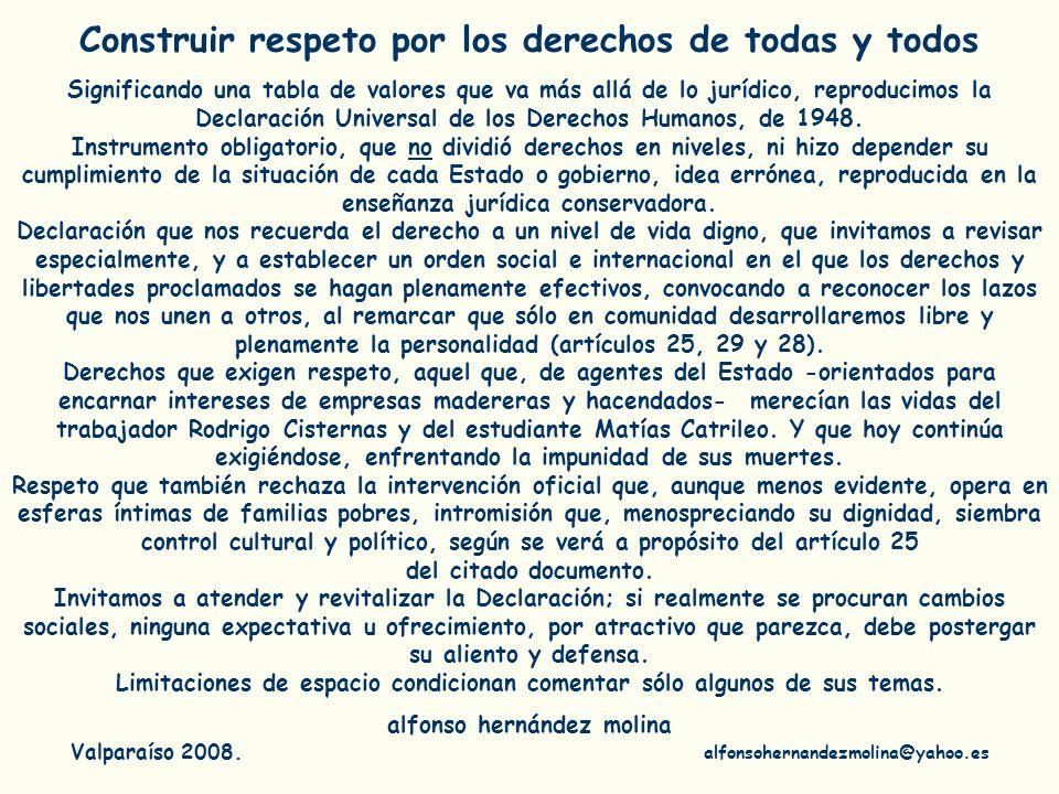 Construir respeto por los derechos de todas y todos
