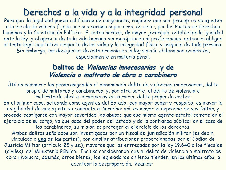 Derechos a la vida y a la integridad personal