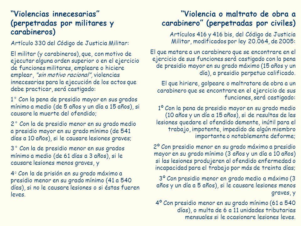 Violencias innecesarias (perpetradas por militares y carabineros)