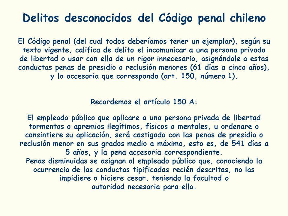 Delitos desconocidos del Código penal chileno