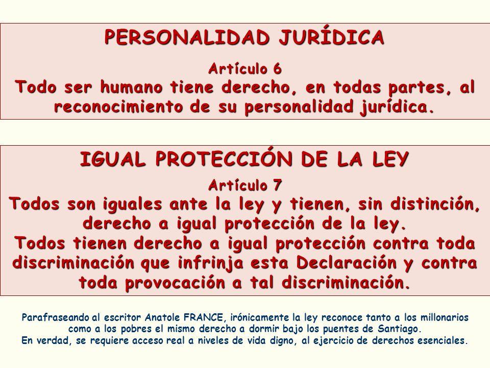 PERSONALIDAD JURÍDICA IGUAL PROTECCIÓN DE LA LEY