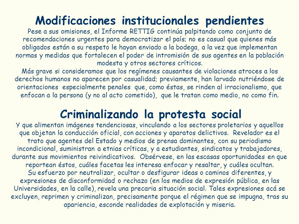 Modificaciones institucionales pendientes