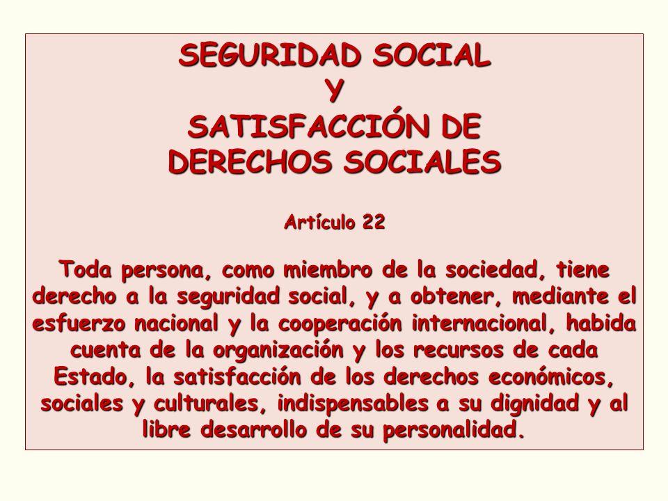 SEGURIDAD SOCIAL Y SATISFACCIÓN DE DERECHOS SOCIALES