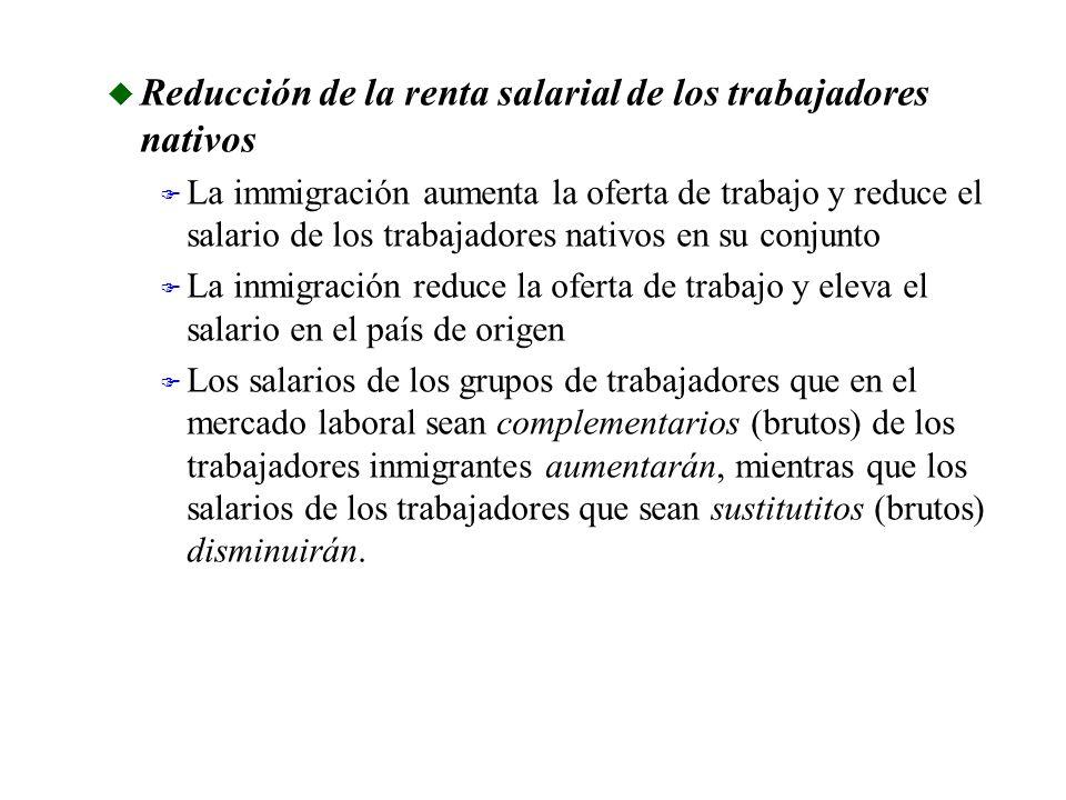 Reducción de la renta salarial de los trabajadores nativos