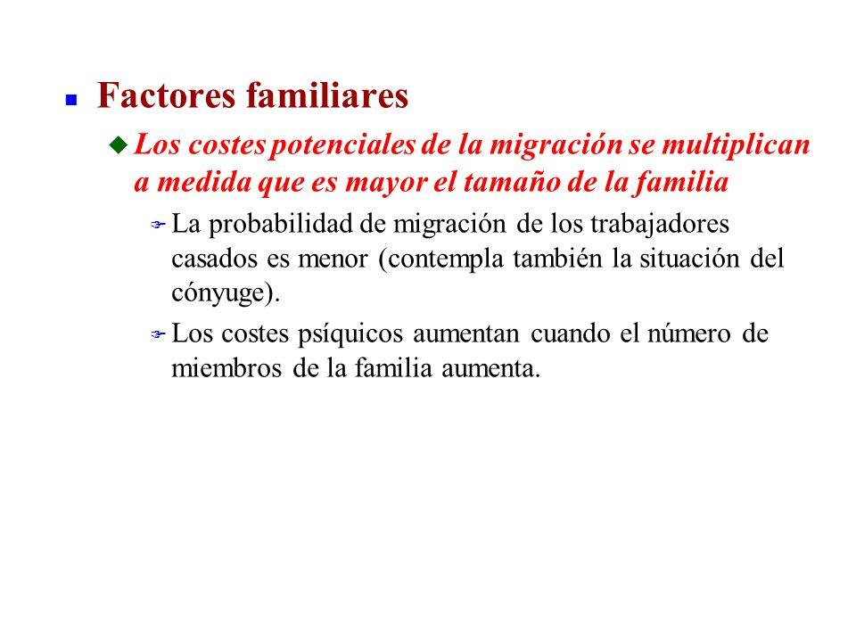 Factores familiares Los costes potenciales de la migración se multiplican a medida que es mayor el tamaño de la familia.