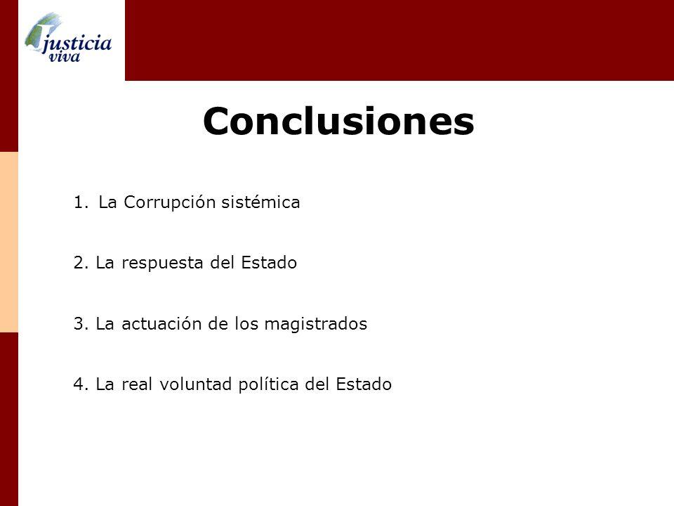 Conclusiones La Corrupción sistémica 2. La respuesta del Estado