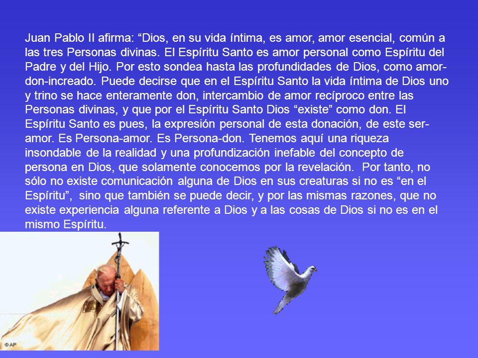 Juan Pablo II afirma: Dios, en su vida íntima, es amor, amor esencial, común a las tres Personas divinas.