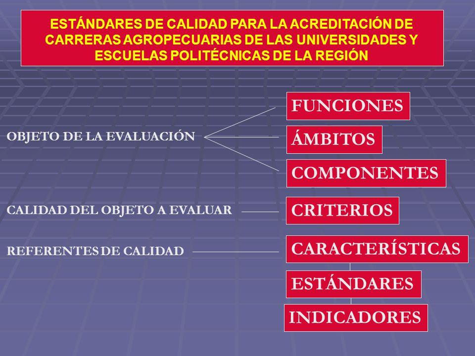 FUNCIONES ÁMBITOS COMPONENTES CRITERIOS CARACTERÍSTICAS ESTÁNDARES